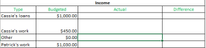 Income for each month
